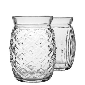 Bormioli Rocco 12 Piece Sweet and Sour Cocktail Glasses Set - Decorative Tropical Tiki Bar Drinking Tumblers - 455ml, 440ml