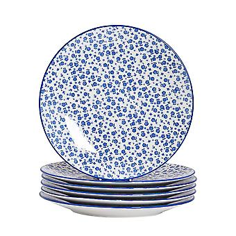 Nicola Spring 6 Piece Daisy Patterned Dinner Plate Set - Large Porcelain Dining Plates - Navy Blue - 26.5cm