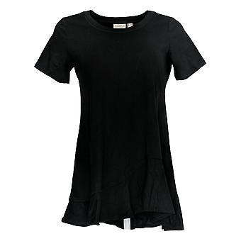 LOGO by Lori Goldstein Women's Top Short Sleeve W/ Asym Hem Black A306613