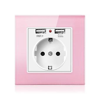 Socket With Usb Charging Port 2.1a 16a Crystal Glass Panel - Spain Wall Socket