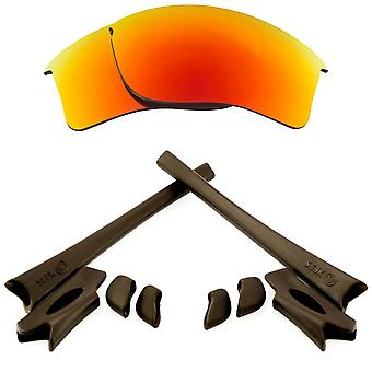 Polarized Replacement Lenses Kit for Oakley Flak Jacket XLJ Red Mirror Brown Anti-Scratch Anti-Glare UV400 by SeekOptics