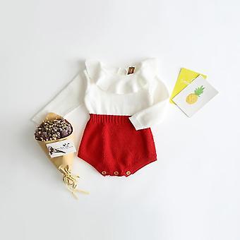 nyfødt baby strikket romper, bomull ull spedbarn barn jumpsuit