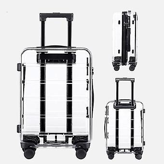 New Brand Transparent Suitcase Spinner Cabin Luggage Trolley Bag On Wheels