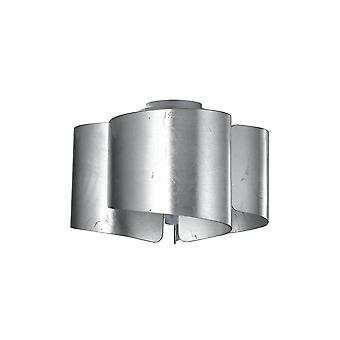 Gebogen glas Semi Flush Plafondlicht, Zilverblad, E27