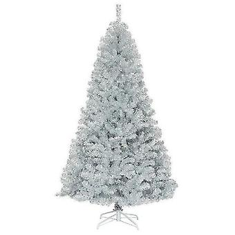 7.5ft Hinged Unlit Artificial Shiny Silver Tinsel Christmas Tree