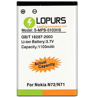 LOPURS Batterie d'entreprise de haute capacité pour Nokia N72 / N71 (Capacité réelle: 1100mAh)