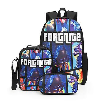 Fortnite backpack large capacity three piece set