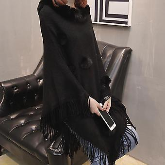 Women Faux Fur Sleeve Ponchos And Capes, Round-neck, Knit Tassel, Sweaters And