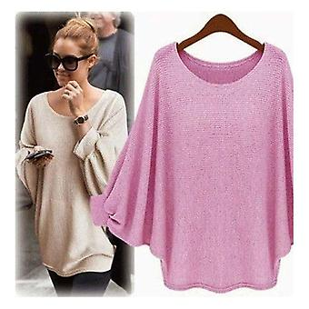 New Candy Color Oversized Batwing Knitted Pullover Loose Knitted Tops High