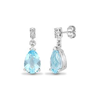 Jewelco London 18ct White Gold 3 Claw Set Round H I1 0.05ct Diamond and Pear Blue 3ct Topaz Tears of Joy Drop Earrings