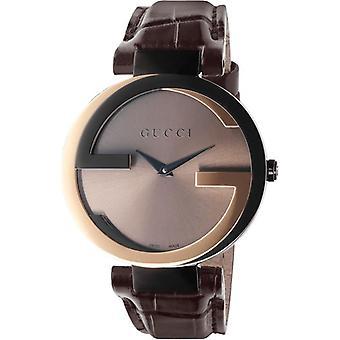 Gucci YA133304 Interlocking-G Black Dial Brown Leather Womens Watch
