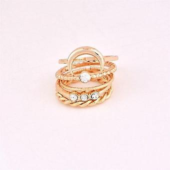 Brief 5pcs/set Cz Crystal Midi Rings Bohemian Moon Charms
