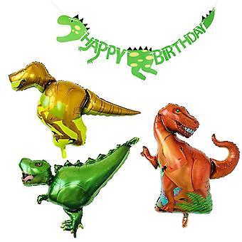 Ballons de dinosaure partywoo, paquet de 3 ballons jumbo feuille de dinosaure et 1 interdiction de joyeux anniversaire dinosaure