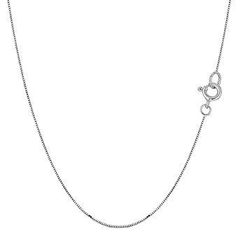14 k hvide Solid Gold spejl boks kæde halskæde, 0,45 mm