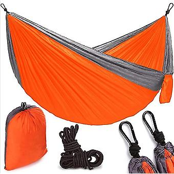 Double 210t Parachute Cloth Hammock Two-color Stitching Nylon Swing Outdoor Camping Hammock