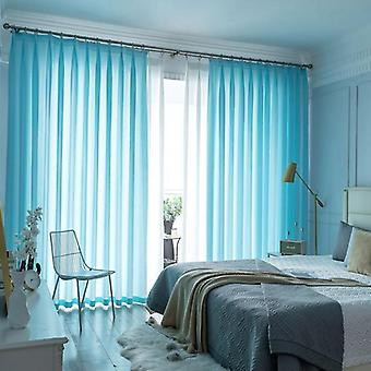 Window Solid Color Long Tulle Bedroom Curtain ( Set 4)