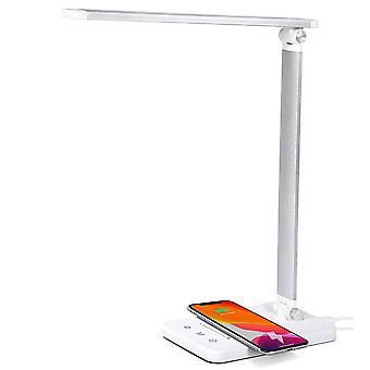 Multifunktionell LED-skrivbordslampa med trådlös laddare, USB-laddningsport, 5 belysningslägen