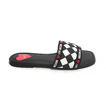 Women's Shoes Love Moschino Low White/ Black Sandal Ds21mo20 Ja28241