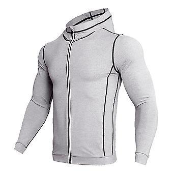 Camisa deportiva sudadera con capucha, camiseta de gimnasio con cremallera de manga larga, camisa de running