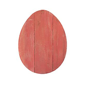 """12"""" Farmhouse Red Wooden Large Egg"""