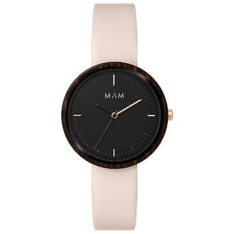 Mam Flat Watches Watch for Women Analog Quartz with Cowhide Bracelet 653