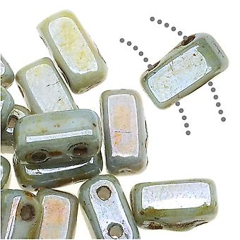CzechMates Glass 2-Hole Rectangle Brick Beads 6x3mm - Opaque Green Luster, 1 Strand
