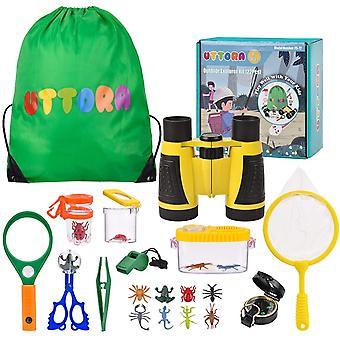 FengChun Draussen Forscherset Spielzeug, Kinder fernglas 22 Stck Kids Adventurer Explorer Set mit