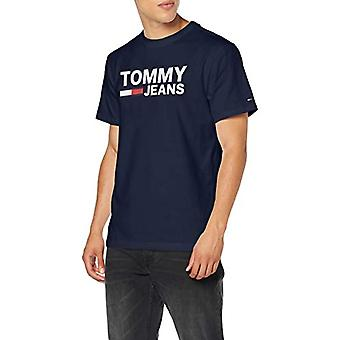 Tommy Jeans Tjm Tommy Classics Logo Tee T-Shirt, Blue (Black Iris 002), XS Men's