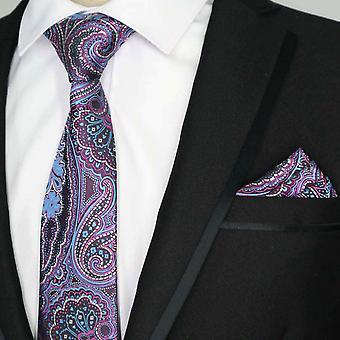 Sininen & vaaleanpunainen kukka kuvio miesten tasku neliön & tie