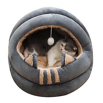 M grau Katze Haustier Haus bett mit abnehmbaren Kissenwarm Winter schlafen Kuschelkissen Matte x4751