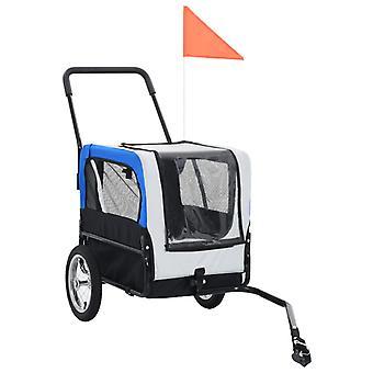 vidaXL 2-in-1 eläinpyöräperävaunu ja jogger harmaa ja sininen