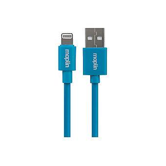 Maplin Premium Lightning-kontakt till USB A Hankabel 0,75 m blå