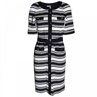 Paola Collection Navy Nautical Stripe 3/4 Sleeve Dress