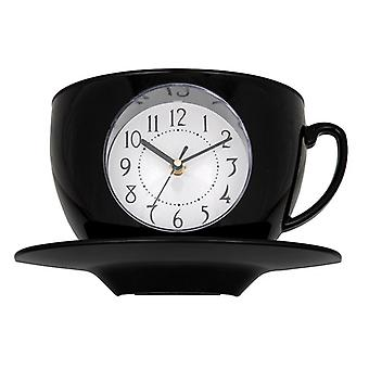 Tearoom Cup & Saucer Clock Black