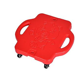 Children's plastic four-wheel outdoor sports scooter(Red)