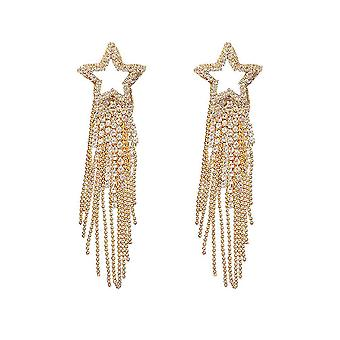 Earrings Needle Five-pointed Star Long Fringe  S925 Jeweled Eardrops For Birthday Gift