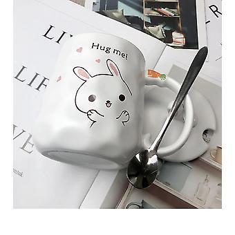 420ml Cartoon Rabbit Coffee Mug Creative Cute Couple Cup Milk Cup Office Cup(white)
