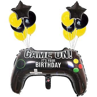 Videospiel Party Zubehör Geburtstagsdeko Set Schwarz Gold, Videospiel Luftballon Helium