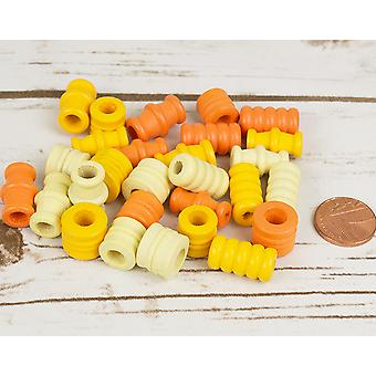 Canon jaune assorti, en forme de perles en bois de threads pour l'artisanat - 28pk