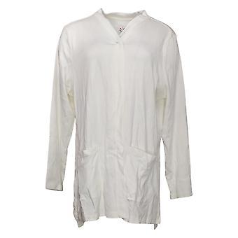 Isaac Mizrahi na żywo! Damski sweter Pima Bawełniany kardigan biały A390690