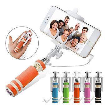 (Orange) Huawei P10 Plus Universal Adjustable Mini Selfie Stick Pocket Sized Monopod Built-in Remote Shutter