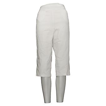 Susan Graver Pantalones de mujer Ultra Stretch Pull-on Pedal Pushers Blanco A254358