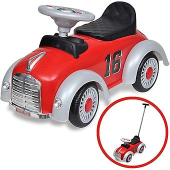 Retro Children's Ride-on Car with Push Bar Red Kids Riding Toy Vehicle