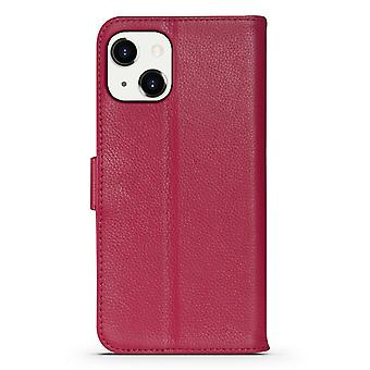 Para iPhone 13 Case Fashion Cowhide Genuine Leather Wallet Cover Rosa