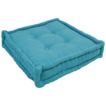 Almohada de piso cuadrada con cable de 20 pulgadas con mechones de botón - Aqua Blue