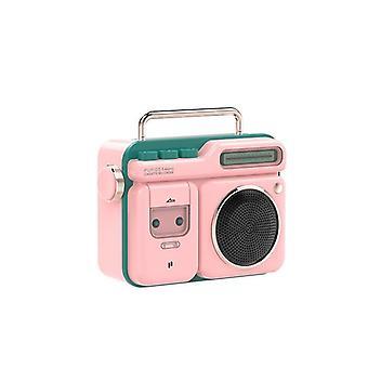Retro Radio Shape HiFi Wireless Bluetooth Speaker Mini Portable Bluetooth Speaker Speakers(Pink)