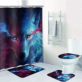 4pcs Bathroom Decor Set Bath Rug Colorful Wolf Pattern