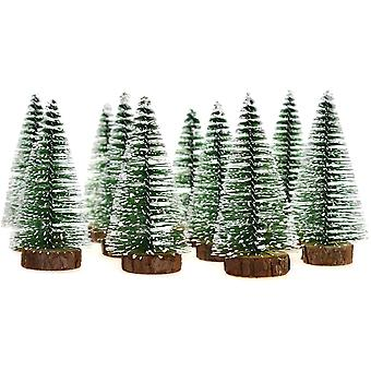5pcs Mini Snow Frost Trees Mini Christmas Tree Winter Snow Ornaments Tabletop