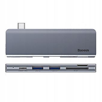 Baseus Type-c Telakointiasema 5-in-1 Usb3.0 * 2 Sd / tf / pd nopea lataustila harmaa