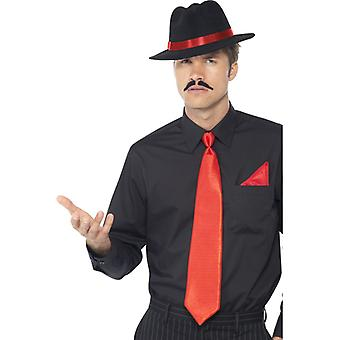 Gangster right away kit red with Hat neck tie, and handkerchief
